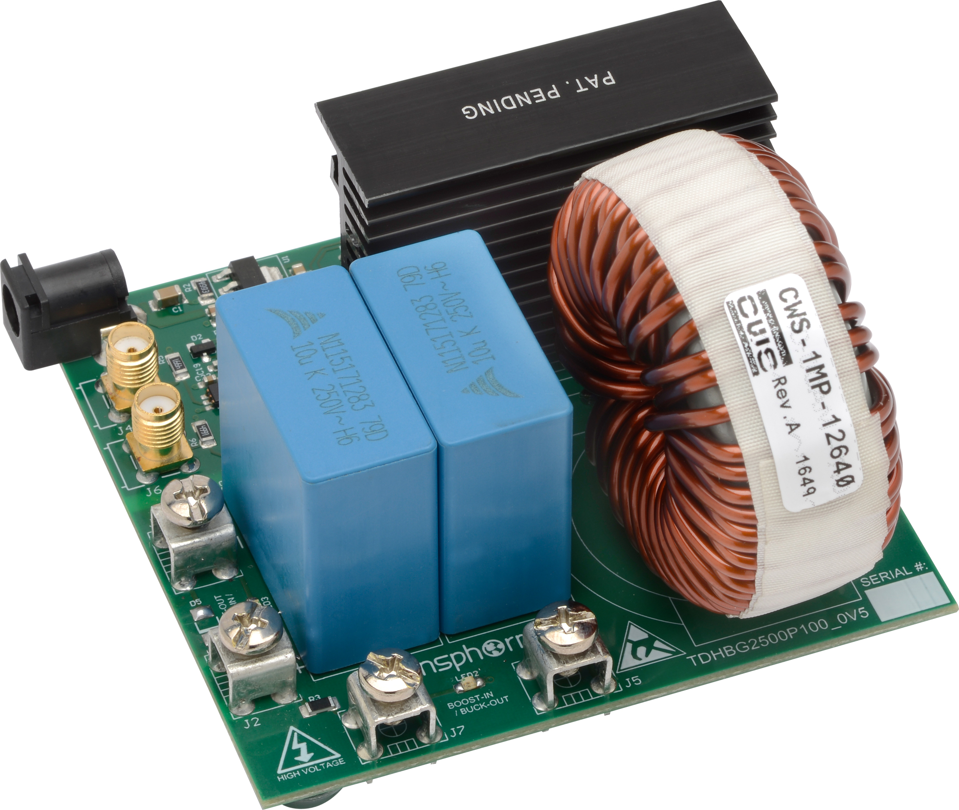 Gan Evaluation Kit Tdhbg2500p100 25kw Hb Buck Boost Transphorm Blue Circuit Board Label Previous