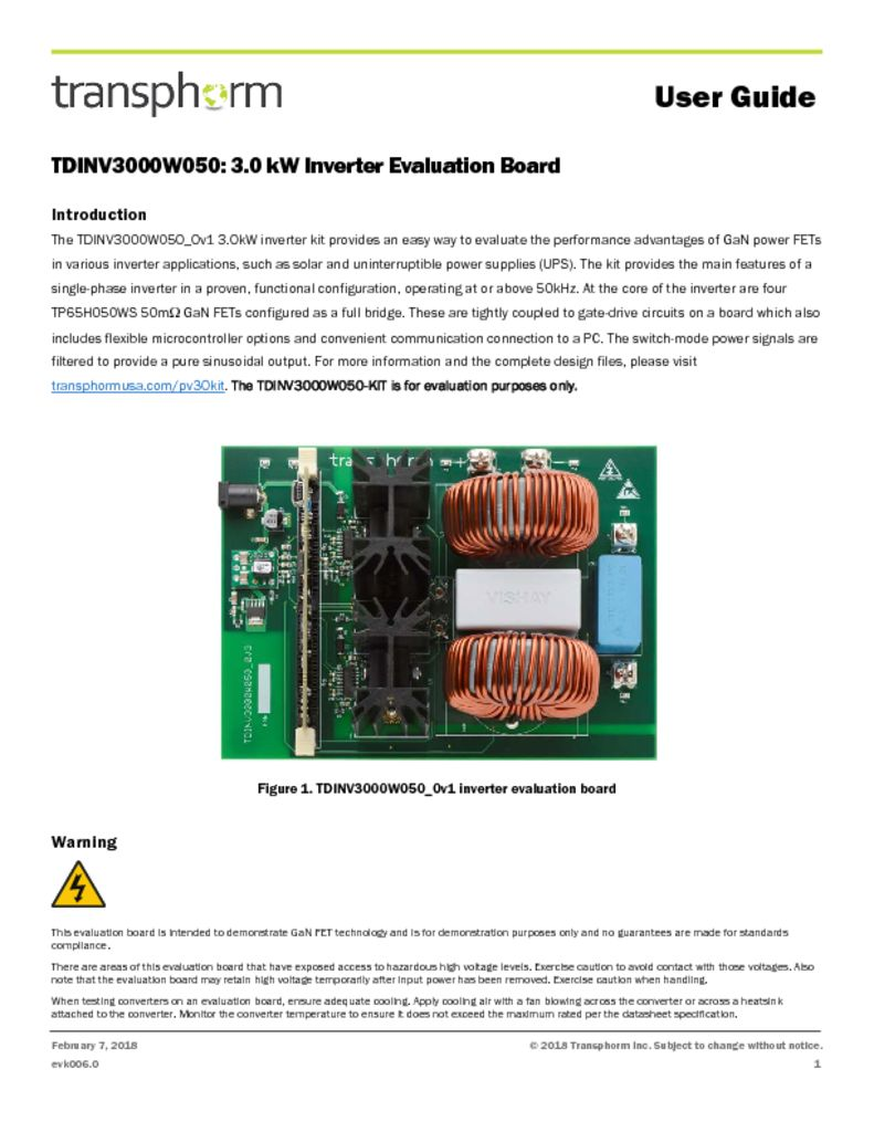 TDINV3000W050 user guide_v0 - Transphorm